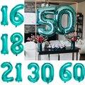 Воздушные шары Тиффани, баннер из фольги с надписью и номером для взрослых, 32 дюйма, 2 шт., 18, 21, 30, 40, 50, 60, украшение для дня рождения