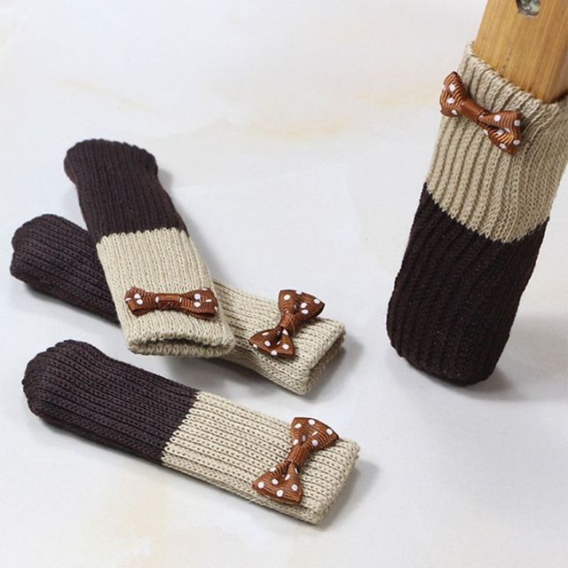 1Pc Cute Flower Applique Double Layer Knit Table Chair Foot Leg Cover Protector Cuffed Sock Sleeve Stretchy Non-Slip Wear 2