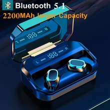 TWS Bluetooth 5.1 Earphones 2200mAh Charging Box Wireless Headphone 9D Stereo Sports Waterproof Earbuds Headsets With Microphone