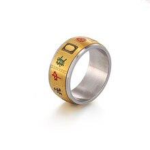 Retro mahjong ring gold farbe stahl klassische anillos femme 2019 Chinesischen charakter bedeuten machen ein vermögen ringe für männer schmuck geschenk
