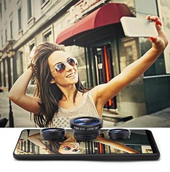 Telefon komórkowy klip obiektyw szerokokątny obiektyw aparatu makro dla IPhone Xiaomi Huawei Lenovo obiektyw typu rybie oko 3 w 1 obiektywy tanie i dobre opinie SIFREE CN (pochodzenie) Teleobiektyw len ROUND Telephoto Lens Apple iphone ów SAMSUNG black silver red gold BLUE wide-macro-fish eye lens