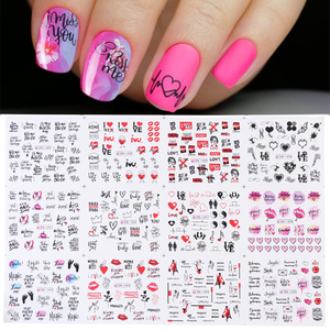 12pcs Nail Sticker Sliders Love Heart Letters Design Nail Art Water Transfer Decals Flowers Manicure Tattoos CHBN1489-1500-1