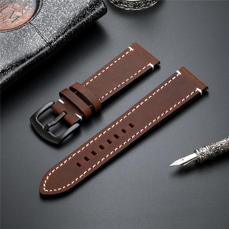 New Quick Release Armband Crazy Horse Echtes Leder Strap 18 20 22 24 mm High-end-Retro Doppelseitige leder Uhr Band