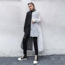 Autumn Hem Asymmetrical Womens Tops And Blouses Fashion New Clothes 2019 Lapel Loose Plaid Patchwork Shirt Female Vintage
