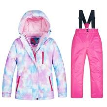 Детская водонепроницаемая куртка с капюшоном, пальто, парки, штаны, зимняя одежда для мальчиков и девочек-подростков, комплект для катания на лыжах и сноуборде, комплект для сноуборда