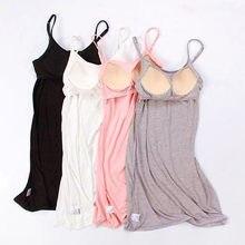 Fdfklak – robe de nuit Sexy pour femmes, en coton, à bretelles, courte, Slim, Modal, soutien-gorge rembourré, vêtements de nuit