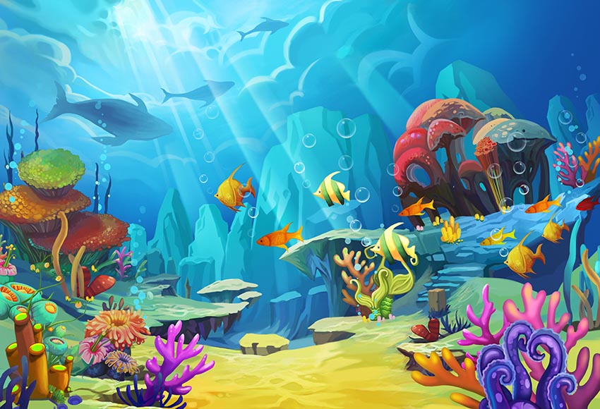 9x6ft Sunshine Under The Sea Backdrop Underwater World Vinyl Photography Backgrouds Seabed Rock Stone Coral Reef Tropical Fishes Shark Photo Backgroud Aquarium Fish Tank Wallpaper