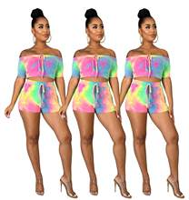 Las mujeres 2 piezas conjuntos de verano Tie Dye Set Sexy trajes de verano Top Corto y conjunto de pantalón Corto de Mujer Strapless Top pantalón Corto Casual