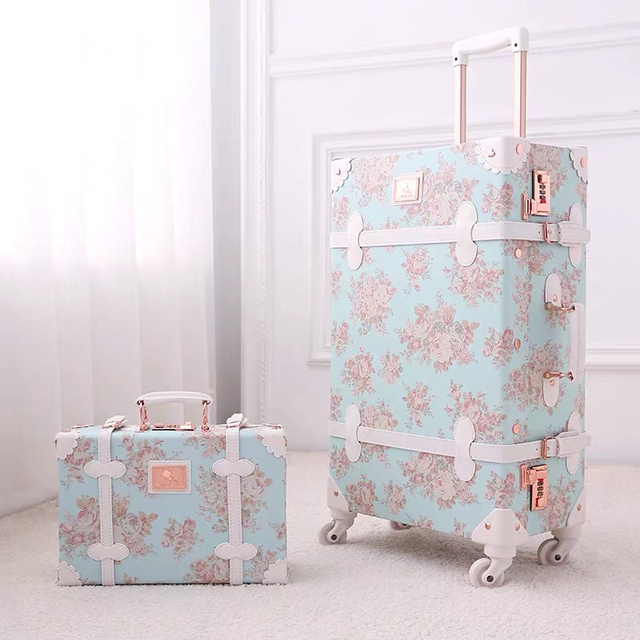 """TRAVEL TALE 20""""24""""26 inch women Retro spinner rolling luggage set trolley floral suitcase trolley bags 1"""