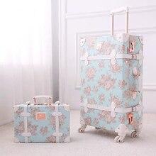 """נסיעות סיפור 20 """"24"""" 26 אינץ נשים רטרו ספינר מתגלגל סט מזוודות עגלה פרחוני עגלת מזוודת שקיות"""