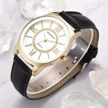 Простые женские модные часы с римским циферблатом кожаные наручные
