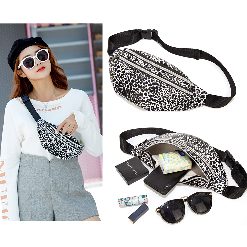 Fashion Leather Leopard Belt Bag Women Double Zipper Waist Bags Women Designer Fanny Pack Fashion Belt Chest Bag Phone Female