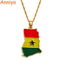 Anniyo Ghana Map/Flag Pendant Necklace Gold Color Jewelry Ghanaian Country Maps Patriotic National Day gift #072406
