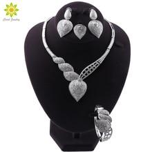 Elegant Water Drop Design Silver Plated Jewelry Sets For Women Costume Necklace Earrings Bracelet Ring Jewellery