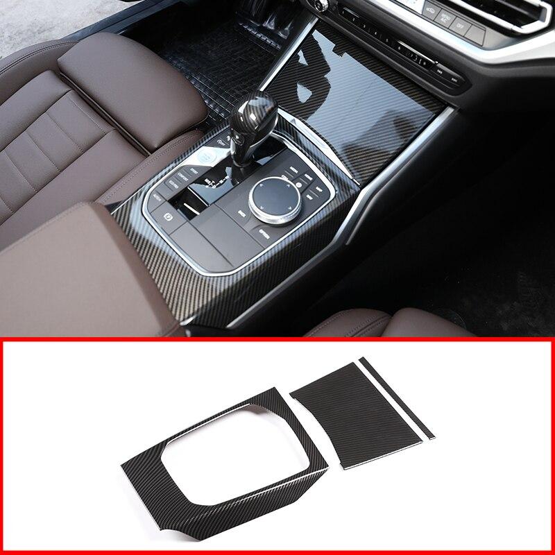 For BMW G20 G28 325 3 Series 2019 2020 ABS Carbon Fiber Chrome Car Center Console Gear Shift Decoration Panel Cover Trim