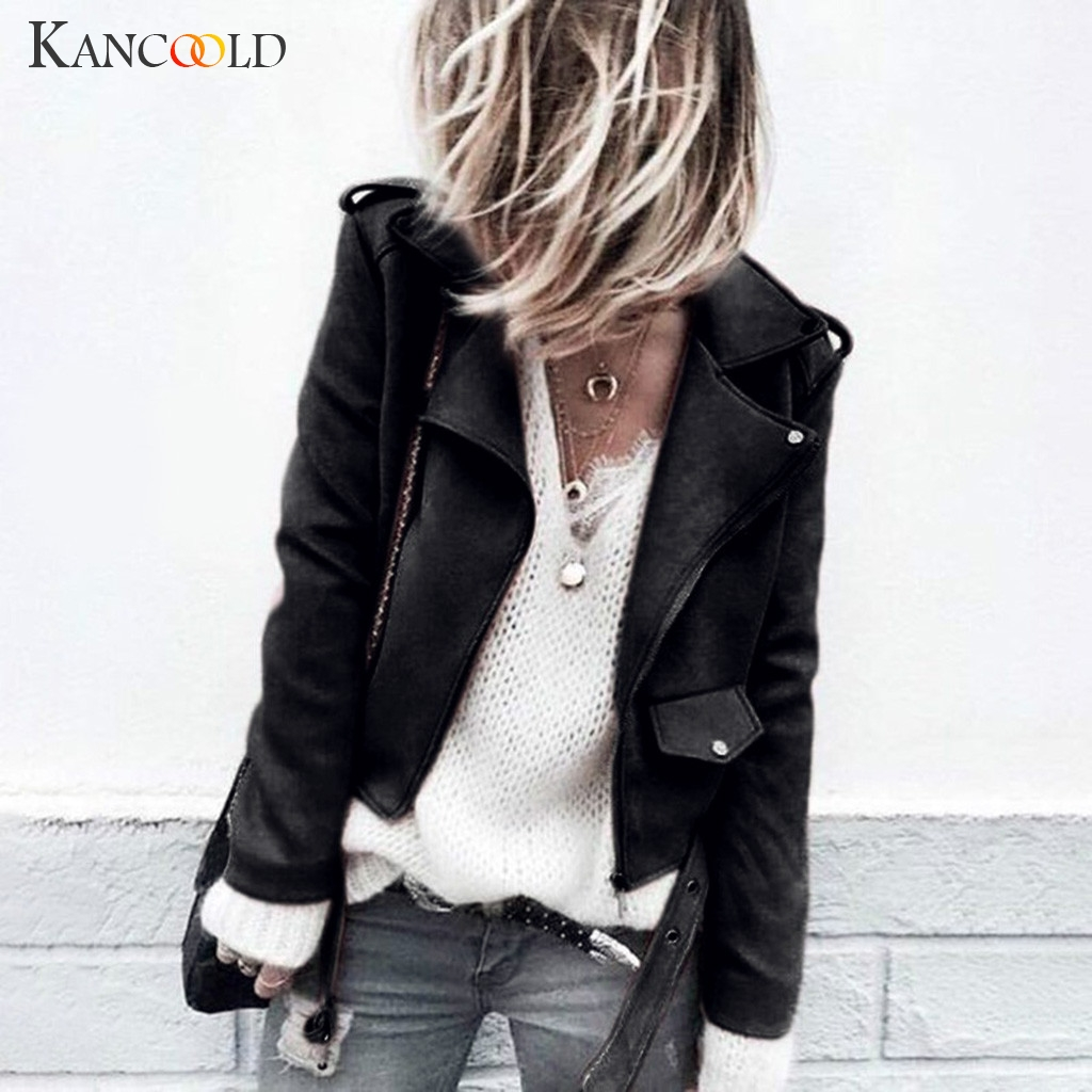 KANCOOLD Coats Women's Casual Autumn Faux Suede Slim Zippers Coat Short Cool Motorcycle Fashion New Coat And Jackets 2019AUG20