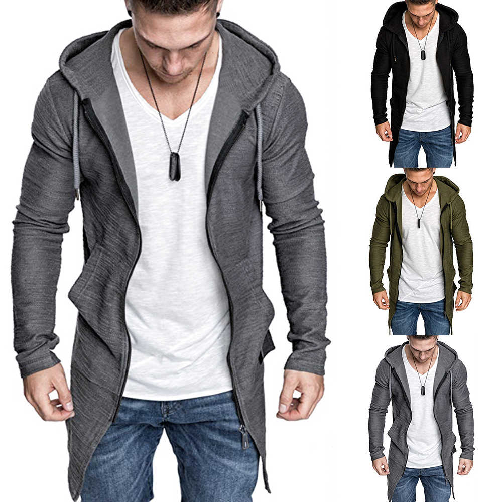 Mannen Splicing Hooded Trenchcoat Jacket Vest Hoodies Lange Mouwen Uitloper Blouse Casual Stitch Jacket Mannen Reflecterende Jas