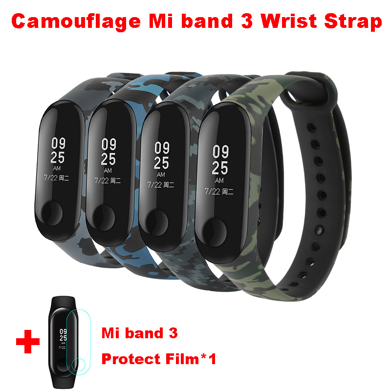 Camouflage Mi Band 3 Wrist Strap For Xiaomi Mi3 Smart Bracelet Pulseira For Miband 3 Strap Replacement Silicone Accessories