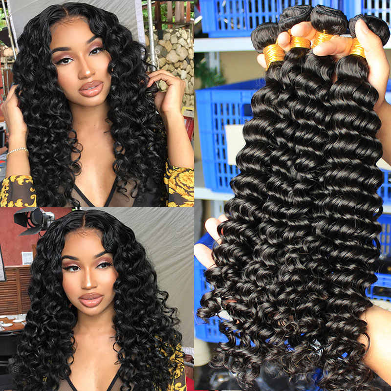 Deep Wave Human Hair Bundles With Closure Hair Extensions Brazilian Virgin Hair Weave Bundles Loose Curly Ever Beauty Product