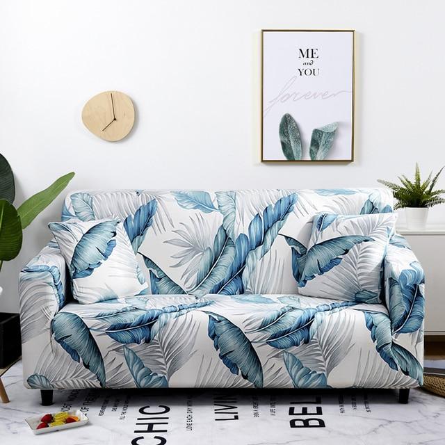 北欧葉パターンソファカバー綿弾性ストレッチカバーユニバーサルリビングルームペットのカバー単一のホーム装飾