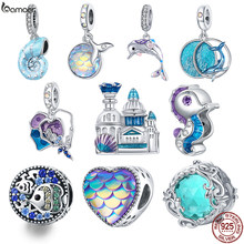 Bamoer 925 Sterling Silber Traum Ozean Serie Emaille Charme, Meerjungfrau Fishtail Hippocampus Shell Herz Schuppig Burg Charme BSC433