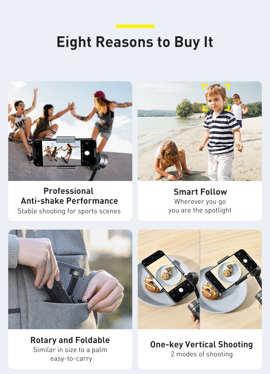 Baseus Control Smartphone Handheld Folding Gimbal Stabilizer 8