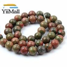 Natural unakite pedra contas 4 6 8 10 12mm granito redondo solto espaçador grânulos para fazer jóias diy pulseira 15 wholesale atacado