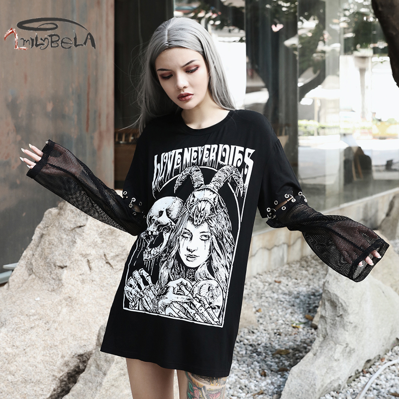 Imily Bela Gothic Casual Sweatshirt Women O-neck Detachable Long Sleeve Mesh Patchwork Pullovers Print Loose Oversize Streetwear