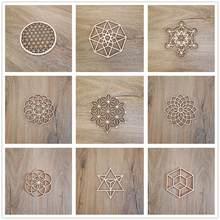 Flor da vida ornamentos de natal, geometria sagrada ornamentos decoração para casa, sinal de madeira parede arte semente da vida porta-copos de madeira