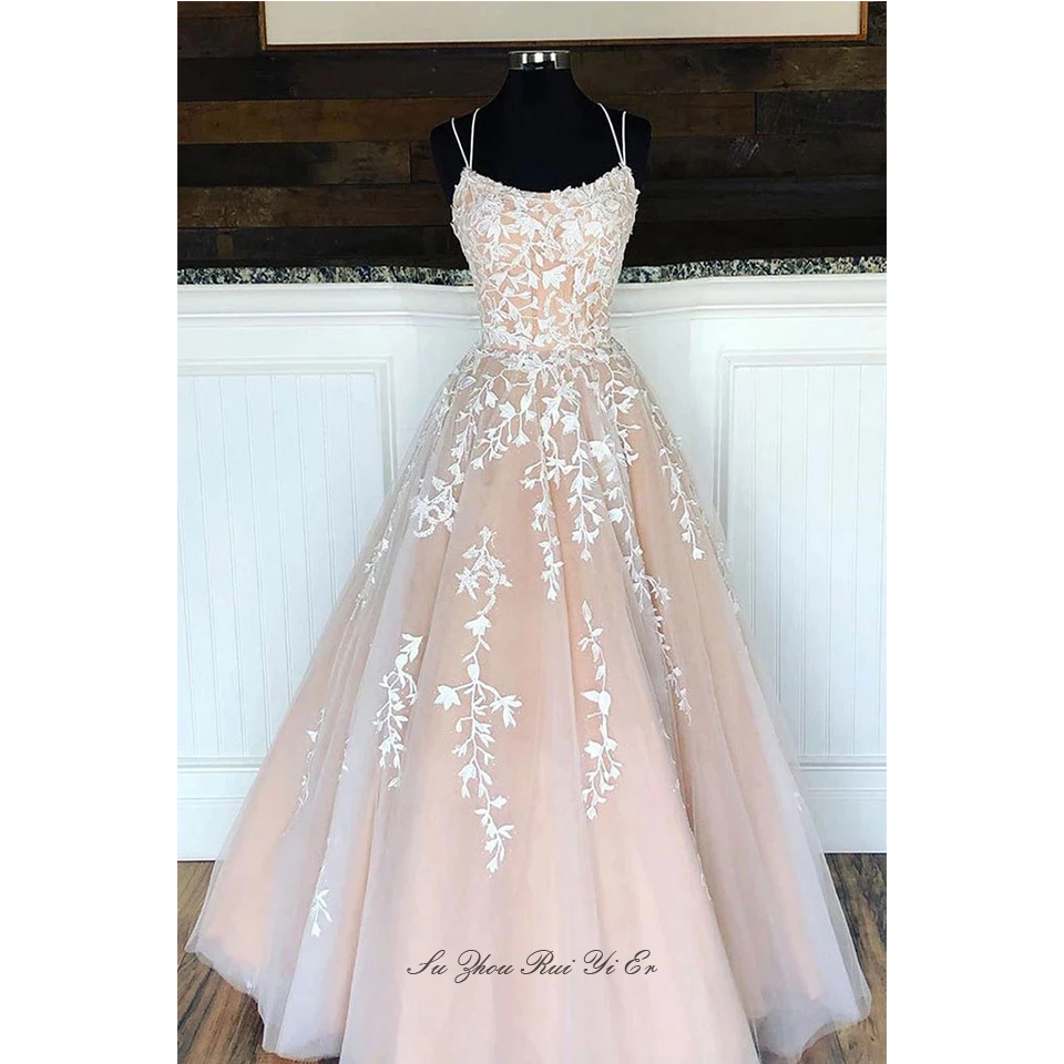 Vestidos De Gala Spaghetti Straps Prom Dresses White Appliques Champagne Lining Prom Gown Corset Back A-line Tulle Long Dress