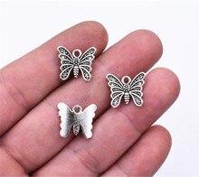 15x13 мм, 50 шт в наборе, античные с серебристым покрытием Бабочка Подвески Ювелирных изделий DIY ручной ювелирные изделия