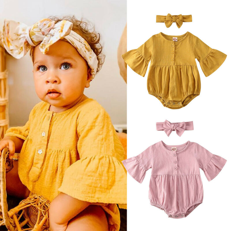 0-18M Newborn Bodysuits Outfits Solid Yellow Pink Kid Baby Girl Clothes Flared Sleeve Jumpsuit For Newborn Girls Summer Outfits