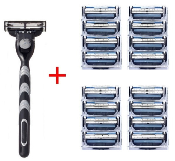 16pcs+1pcs Holder Compatible MACH 3 Razor Blade Manual Three-layer Razor Blade Shaver Razor Blade Replacement