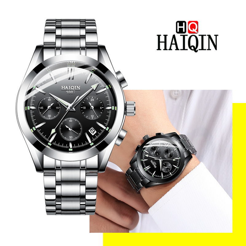 HAIQIN Men's Watches 2019 Fashion Men's Quartz Top Brand Stainless Steel Waterproof Sports Clock Deluxe Gift Relogio Masculino