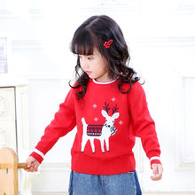 2019 Autumn And Winter GIRL'S Sweater New Products 3-7-Year-Old Crew Neck Versatile Jacquard Sika Deer Double Layer CHILDREN'S S(China)