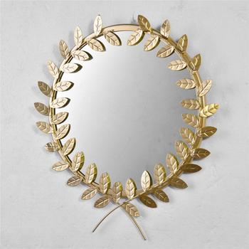 30cm Golden Leaf Shaped Metal Wall-mounted Mirror  2