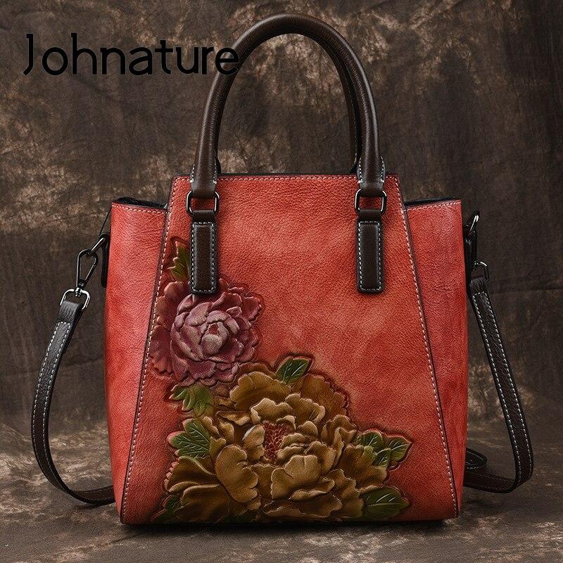Johnature Casual Tote 2019 New Genuine Leather Embossing Handbag Vintage Large Capacity Women Bag Floral Shoulder&Crossbody Bags