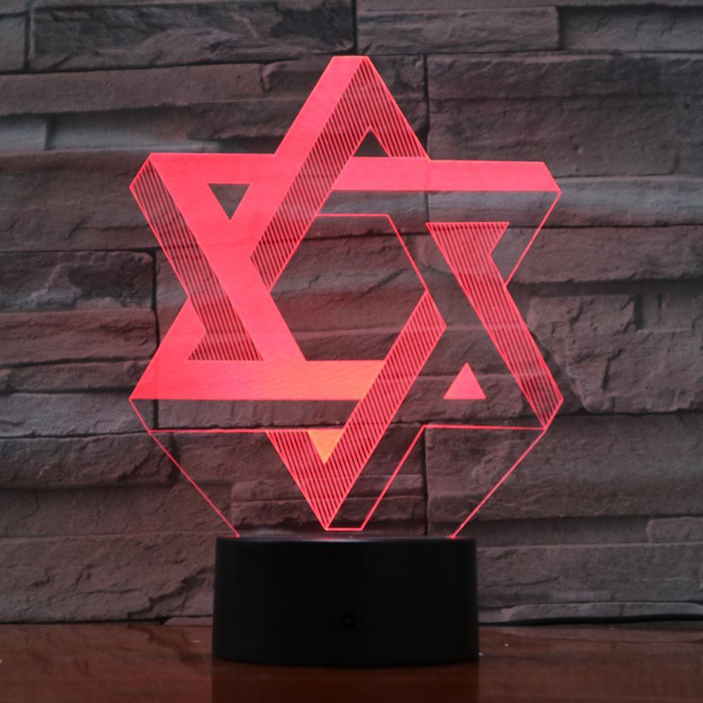 Hexagram Star 3D Night Light LED 7 Colors Mood Table Lamp USB Bedroom Bedside Sleep Light Fixture Home Decor Kids Dropship Gifts