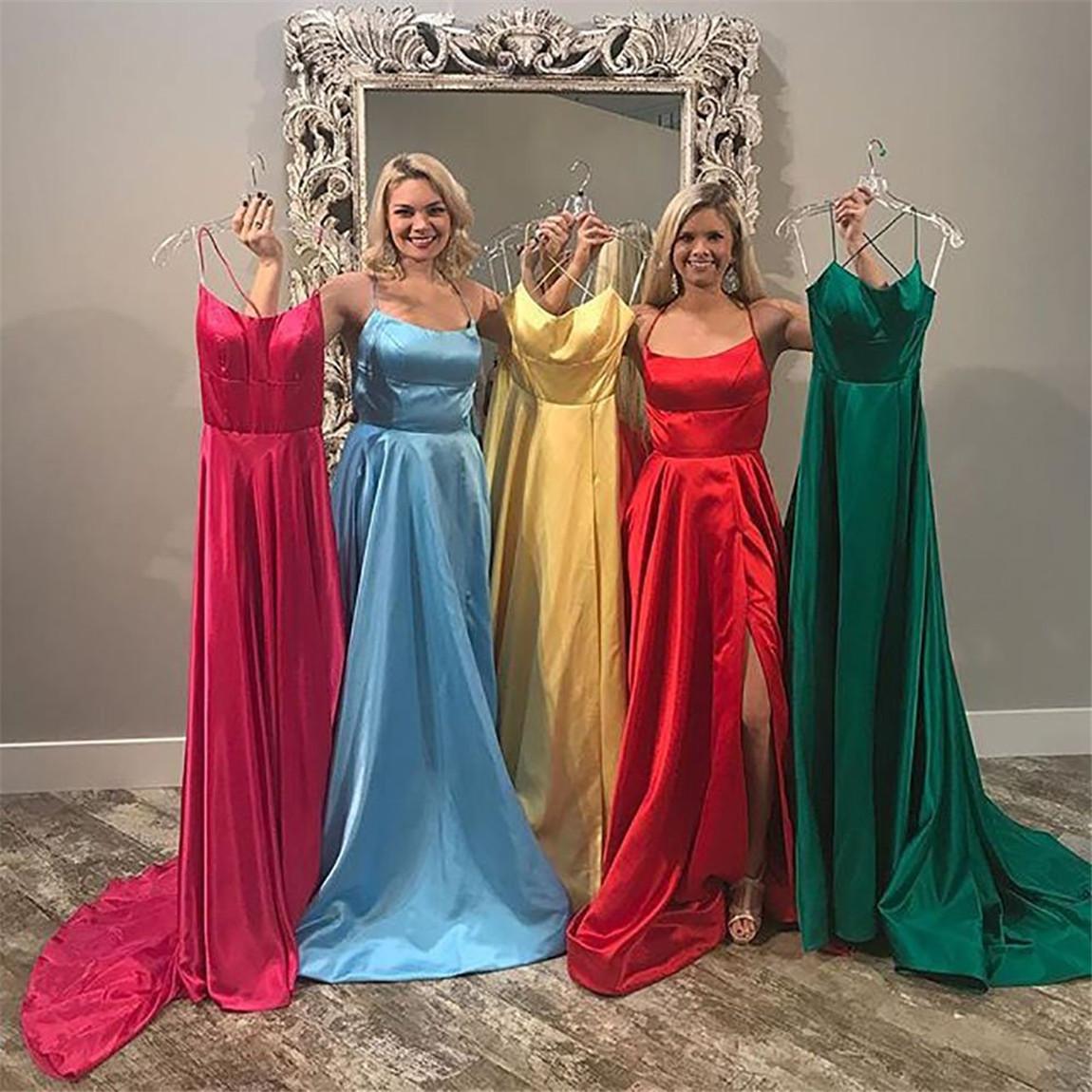 Halter Neck Prom Dresses 2020 Sexy Backless Front Split  A line Prom Party Dress vestidos de festa longo вечернее платье
