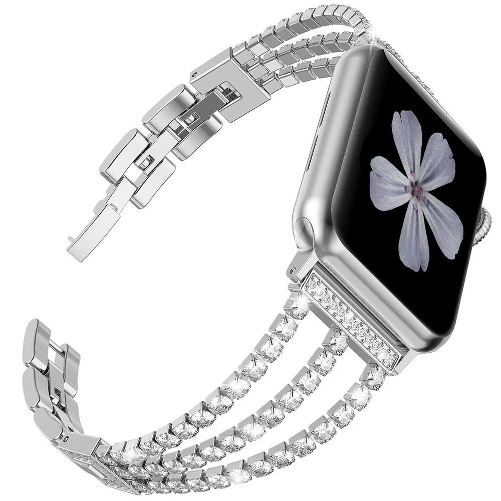 Luksusowe łańcuch z diamentami wymiana pasek do zegarka Apple Watch Series 5 4 44mm 42mm bransoletka na rękę pasek do zegarka Iwatch 1 2 3 40mm 38mm