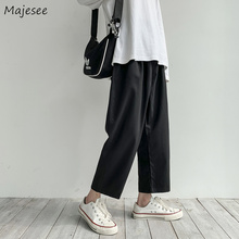Men Casual Leg-Trousers Korean-Style Pants Spring Ankle-Length Harajuku Loose Straight