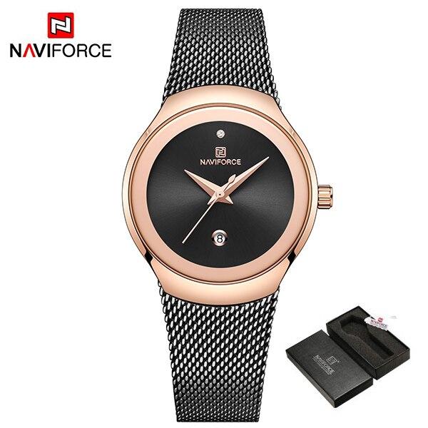 Women Watches NAVIFORCE Top Luxury Brand Lady Fashion Casual Simple Steel Mesh Strap Wristwatch Gift for Girls Relogio Feminino