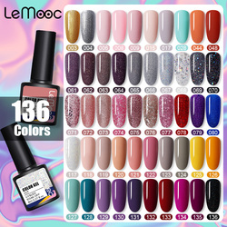 LEMOOC Nail Polish Gel 136 Colors Bright Varnishes Soak Off Semi Permanant Shiny Shimmer Glitter Sequins Nail Lacquers