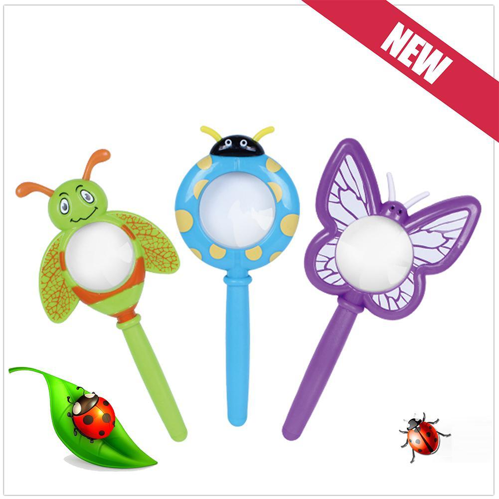 Kuulee Kids Cute Cartoon Plastic Handheld Insect Magnifier Originality Toy Gift For Kindergarten Pupil Color Random