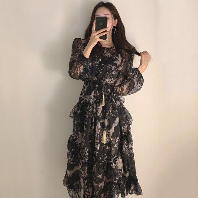 WAVSIYIER print floral vintage party a-line long sleeve woman korean style autumn winter elegant dresses 2020 loose dress women 2