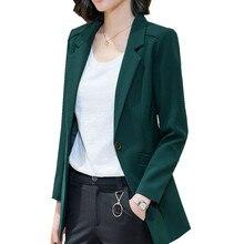 Blazer Feminino Suit Jacket Women Long-sleeved Green Coat Ol