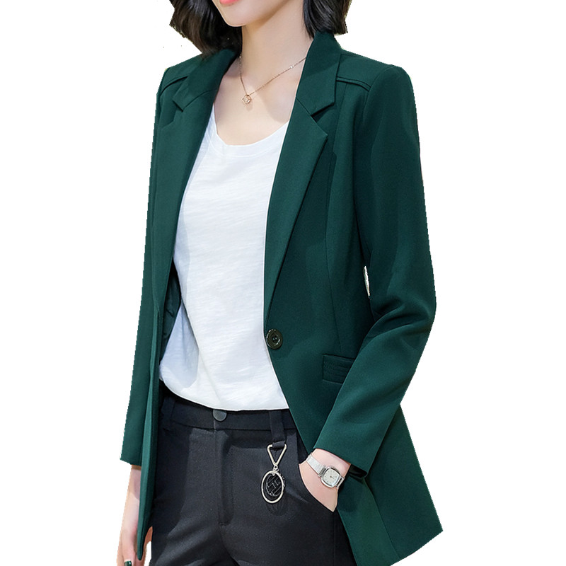 Suit Jacket Blazer Green Coat Ol White Long Large-Size Women Solid-Color 4XL Mujer Feminino title=