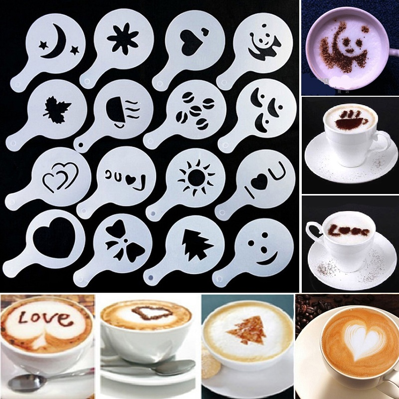 HIFUAR 16Pcs Plastic Coffee Latte Cappuccino Barista Art Stencils Cake Duster Templates Coffee Tools Accessories Coffee Decor