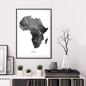 Africa Map Canvas Poster Black and White Wall Art Painting World Map Picture and Print for Home Room Decoration