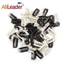 Leeons – Clips à pression pour Extensions de cheveux, 20 pièces/lot, noir et blanc, pour tissage de perruques, peigne